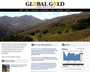 Global Gold Website Example