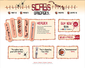 Scabs Bandages Website Example